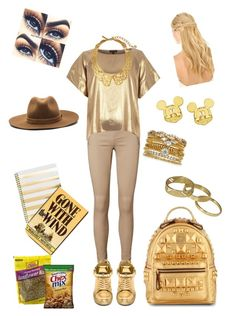 all gold going to school outfit by aysiastyle on Polyvore featuring polyvore fashion style River Island Vero Moda BUSCEMI MCM Accessorize Disney Scotch & Soda Oscar de la Renta rag & bone Pluie clothing