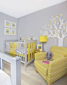Yellow and Gray kids' bedroom