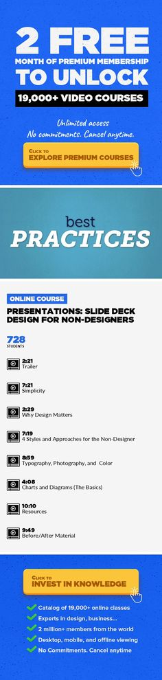 Presentations: Slide Deck Design for Non-Designers Entrepreneurship, Marketing, Business, Information Design, Business Development #onlinecourses #learningathomeproducts #startingonlinebusiness   Design amazing slides. Your audience will remember. Once your content is in place, a great presentation is all about amazing slide design. In this 50-minute class, presentation expert Scott Schwertly prov...