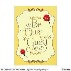be our guest red roses elegant event party invitation party