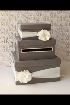 Card box - you could even make one that looks like a wedding cake? Trendy Wedding, Perfect Wedding, Dream Wedding, Wedding Day, Blue Wedding, Wedding Stuff, Wedding Photos, Wedding Rustic, Wedding Pins