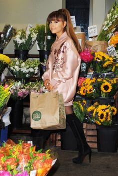 Ariana Grande | Stella McCartney Floral Embroidered Duchesse Satin Bomber Jacket | Celebrity Fashion and Style