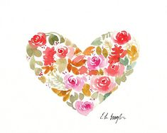 Fall Floral Heart 8x10 Original Watercolor by GrowCreativeShop
