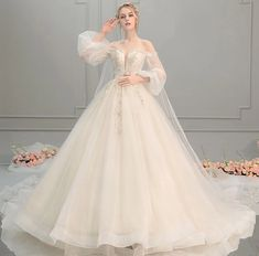 lace wedding bridal dresses floor length long sleeve tail wedding dress 2019 from CityLady ~This dress could be custom made, there are no extra cost to do custom size and color. In addition, we can also customize other dresses. Princess Wedding Dresses, Dream Wedding Dresses, Bridal Dresses, Wedding Gowns, Lace Wedding, Princess Bridal, Elf Wedding Dress, Rapunzel Wedding Dress, Vintage Princess