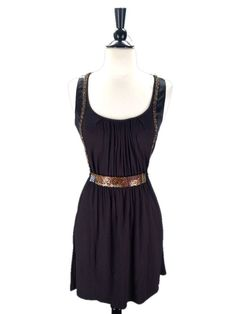 One September Anthropologie size P S Beaded Black Jersey Belted Dress #Anthropologie #Casual