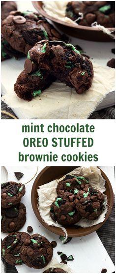 7-ingredient Mint Chocolate Oreo Stuffed Brownie Cookies #cookie #christmas #mint