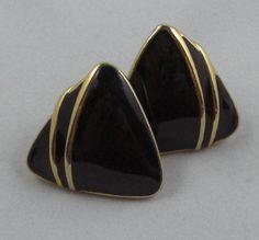 Vintage Trifari Gold Tone and Black Enamel Triangle Post Earrings  https://www.etsy.com/listing/90092126/vintage-trifari-gold-tone-and-black