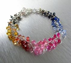 Multi Colored Sapphire And Sterling Silver Bracelet by SurfAndSand