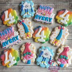 Kaleidoscopic Trolls Birthday Party Sugar Cookies TheIcedSugarCookie.com Sugar Coma Cookies