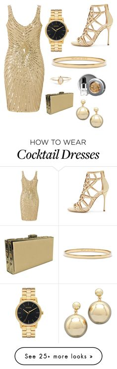"""Gold"" by amy4my on Polyvore featuring Sergio Rossi, Aidan Mattox, Nixon, Kate Spade, Stila and Judith Leiber"