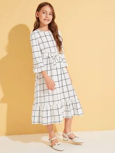 Girls Ruffle Trim Belted Grid Print Dress - Women's style: Patterns of sustainability Stylish Dresses For Girls, Girls Dresses Online, Little Girl Dresses, Cute Dresses, Dress For Girl Child, Kids Dress Wear, Girls Fashion Clothes, Tween Fashion, Baby Girl Dress Patterns