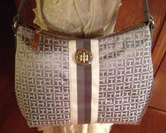 New Tommy Hilfiger Stripe Monogram Jaquard Hobo Handbag Purse #TommyHilfiger #Hobo