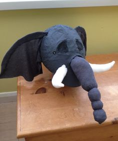 DIY Kids Elephant Costume Head - Paper mâché, All Recycled Materials, Sewn Trunk, Ears  Tusks
