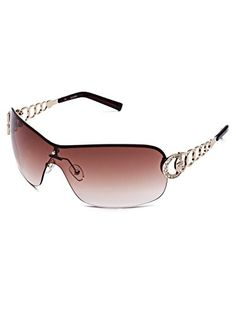 62ded6d04c5 GUESS Factory Women s Rimless Shield Sunglasses at Amazon Women s Clothing  store