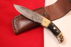 D.GREEC HANDMADE DAMASCUS FOLDING POCKET KNIFES STAG ANTLER HANDLE.DUC276 #DUCKGREEC