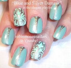 Nail-art by Robin Moses - Damask in Tiffany blue and Silver