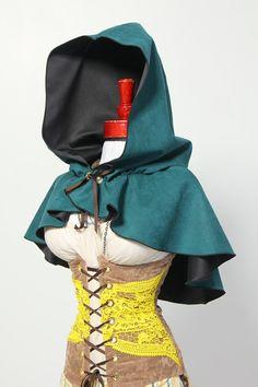 Deep Teal Hooded Caplet by Damsel in this Dress