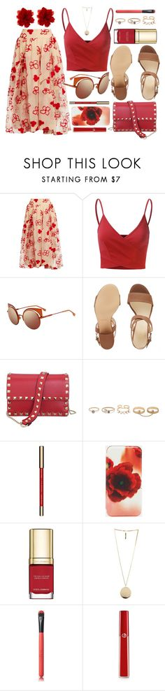 """Red"" by smartbuyglasses-uk ❤ liked on Polyvore featuring Simone Rocha, Doublju, Fendi, Nine West, Valentino, LULUS, Clarins, Ted Baker, Dolce&Gabbana and Givenchy"
