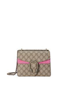 Gucci Dionysus GG Supreme Mini Shoulder Bag, Beige/Bright Pink $1550 Pre-Fall 2016 Neiman Marcus