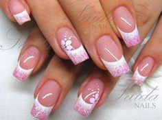 White Tips with Pink Glitter. Too bad I cant get cute designs because of my job.