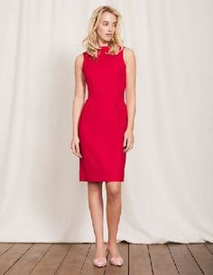 #Boden Martha Dress Poppy Red Women Boden, Poppy Red #By popular demand, this bestselling favourite is back - a beautifully flattering sleeveless dress with an above-the-knee cut and tailored pleats at the waist to create an hourglass silhouette. Weve finished off the structured style with a roll-collar for a modern take on femininity.