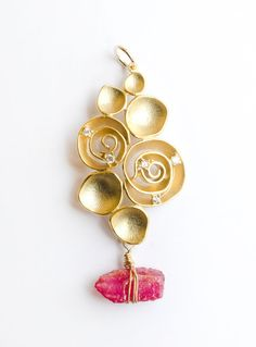 Raw Ruby flower pendant, Ruby, Citrin, Peridot, Apatite necklace, red stone pendant, Brass connector and gold fill wire