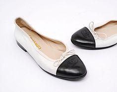 d3b2aa05a7e7 Chanel-Black-White-Cap-Toe-CC-Bow-Classic-Ballet-Lamb-Leather-Flats-Size-36   CHANEL  Ballerina  Versatile