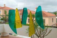 Móvil de viento  Vidrio  Amarillo y verde por TuulaGiraldoArtGlass