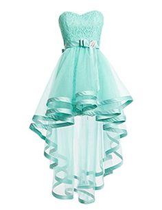Dresstells High Low Bridesmaid Dress Tulle Lace Homecomin... Abiti Per La  Laurea 6c5cb30697f