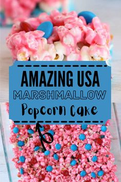 Show your American pride with this easy, irresistible Marshmallow Popcorn Cake. Only 5 ingredients needed for sweet deliciousness! #popcorncake #popcorntreats How To Make Popcorn, How To Make Marshmallows, Mini Marshmallows, Food To Make, Marshmallow Popcorn, Popcorn Cake, Blue Popcorn, Sweet Popcorn, Colorful Desserts