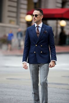 Plaid Suit, Pants Separate - He Spoke Style Mens Fashion Casual Shoes, Mens Fashion Suits, Blazer Fashion, Blue Blazer Outfit, Plaid Suit, Plaid Pants, Designer Suits For Men, Three Piece Suit, Dapper Men