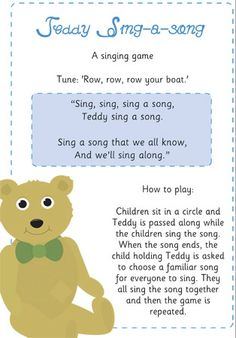 Teddy Sing A Song Game / Activity