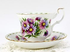 Royal Albert September Michaelmas Daisy Teacup and Saucer, Flower of the Month Series Cup