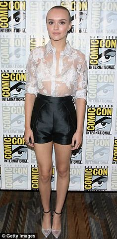 Committed: Olivia Cooke showed off her new bald head at Comic Con in San Diego on Friday