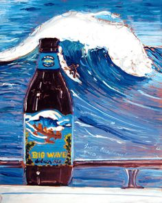 Beer painting of Big Wave Golden Ale by Kona Brewing Company with Hawaii surfing scene. Year of Beer Paintings - Day 100!