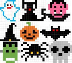 10 schede facili per la festa di Halloween in Pixel Art: il cappello da strega, il fantasma, Franken
