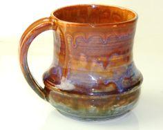 Mug Ceramic Pink Orange and Green Sunset Sky by PrimitivePots, $25.00