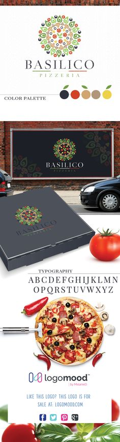 Basilico Pizzeria Logo for sale. Exclusive ready made logos for sale! at logomood.com