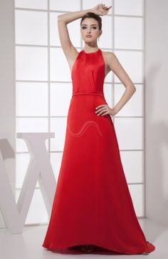 Red Sexy A-line Halter Sleeveless Backless Brush Train Prom Dress