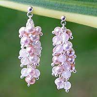 Pearl and rose quartz cluster earrings, 'Rosebuds' - Pearl and Rose Quartz Beaded Earrings