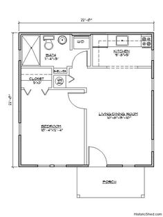 Lots of cottage floor plans and exterior photos - this one is a 22'x22' one bedroom, one bath cottage (484 SF)