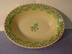 Vintage-Syracuse-China-Adobe-Ware-Green-Leaves-Pattern-Veggie-Bowl Dining Services, Syracuse China, Pie Dish, Green Leaves, Adobe, Veggies, Restaurant, Ceramics, Patterns