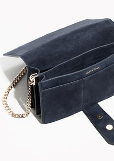 & Other Stories image 2 of Tab Detail Leather Chain Crossover in Navy