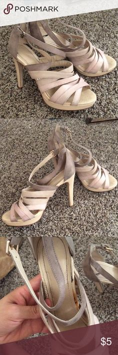 """H&M heels Faux suede and faux leather. Beige, dusty pink, and taupe in color. These were my sister in laws so they do not fit. In the 3rd pic it shows where the glue surfaced. Still in decent condition. A few stains on the suede part of the shoe. 4.5 """" heel H&M Shoes Heels"""