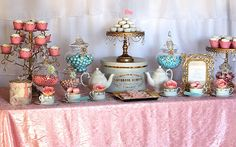 Tea Party {Dessert Display} by EyeCandyCelebrations.com #macarons #teaparty #dessertdisplay