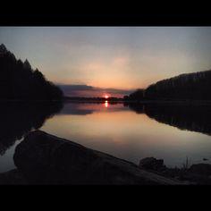 Sunset just outside Punxsutawney, Pennsylvania at Cloe dam.