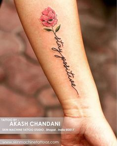 Flower Touch Rosy Positive Wrist Tattoo Design