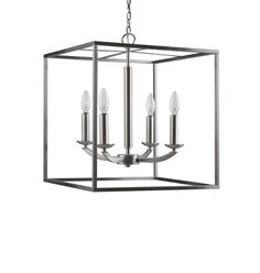View the Woodbridge Lighting 14424STN Satin Nickel 4 Light 1 Tier Candle Style Cage Chandelier from the Lola Collection at Build.com.