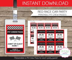 Race Car Party Pit Crew Pass printable insert - INSTANT DOWNLOAD and EDITABLE template - type your own text in Adobe Reader by SIMONEmadeit on Etsy https://www.etsy.com/listing/187341631/race-car-party-pit-crew-pass-printable