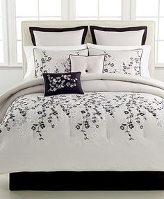 Whisper 8 Piece Comforter Sets - Bed in a Bag - Bed & Bath - Macy's. Pretty much every accent pillow would have to have color. Easy Home Decor, Home Decor Trends, Home Decor Inspiration, Beach Bedding Sets, Full Comforter Sets, King Comforter, Interior Decorating Styles, New Interior Design, European Home Decor